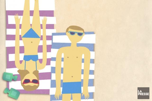 «Il n'a pas fait beau pendant tes vacances? Tu n'es pas très bronzé!» La... (Illustration Geneviève Fredette, La Presse)