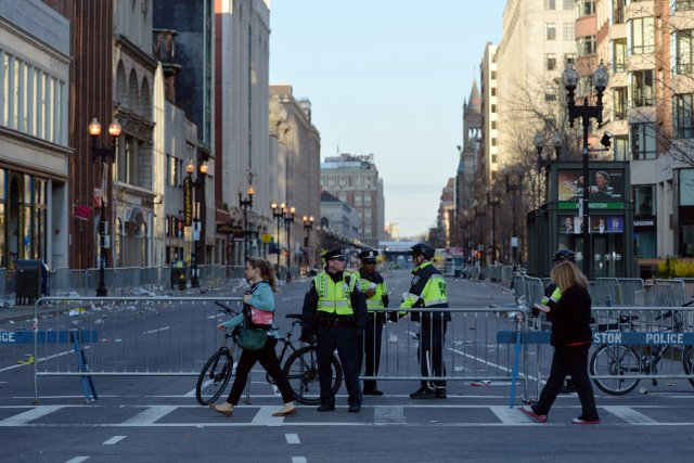 Boylston Street, rue touchée par l'attentat terroriste de... (PHOTO STAN HONDA, AFP)