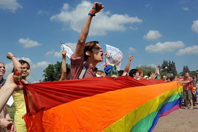Sur la photo, des activistes homosexuels lors d'un... (Photo archives AFP)