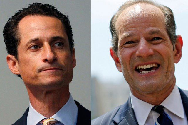 Anthony Weiner (à gauche) et Eliot Spitzer.... (PHOTOS REUTERS)