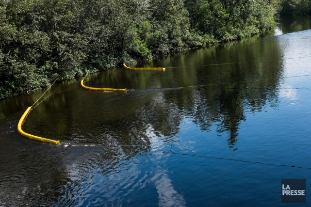 Opération récupération de pétrole dans la rivière Chaudière.... (Photo Édouard Plante-Fréchette, La Presse)