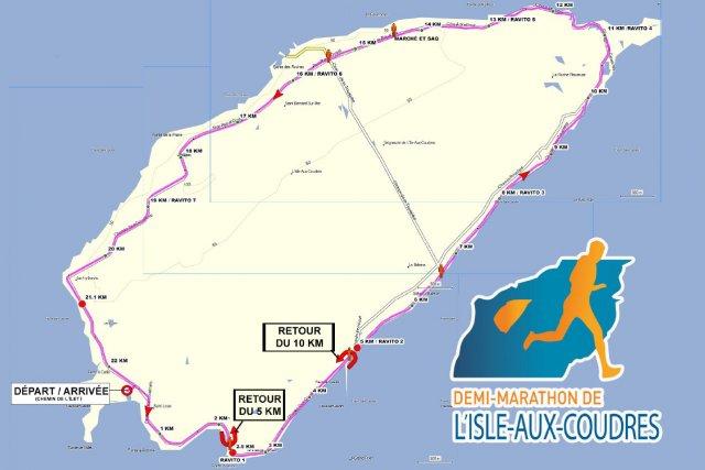 Le parcours du demi-marathon de l'Isle-aux-Coudres... (www.courseiac.com)