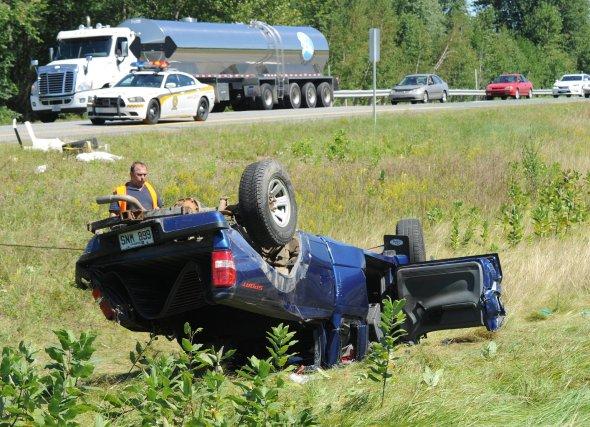 Un accident a fait quatre blessés samedi en mi-journée sur l'autoroute40 ouest... (Sylvain Mayer)