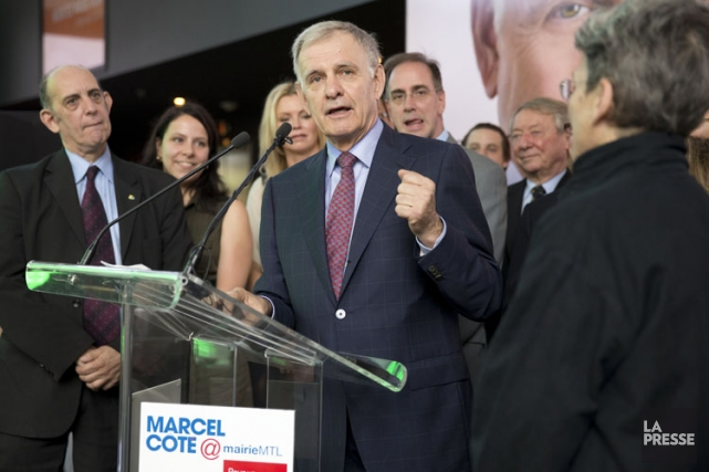 Marcel Côté au lancement de sa campagne à... (Photo: David Boily, La Presse)