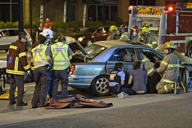 La collision a eu lieu à l'intersection des... (Photo Félix-Olivier Jacques Fournier, collaboration spéciale)