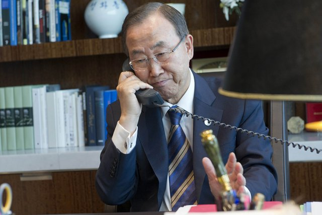 Le patron de l'ONU Ban Ki-moon.... (PHOTO AFP / MARK GARTEN, UN)