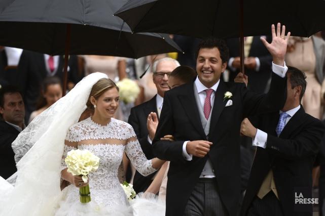Jacqueline-Ariadne Desmarais au bras de son époux,Hadrien de... (Photo Bernard Brault, La Presse)