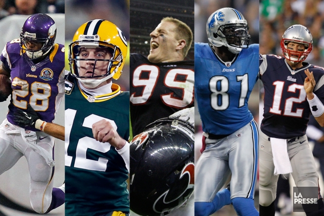 Adrian Peterson, Aaron Rodgers, J.J. Watt, Calvin Johnson et Tom Brady.... (PHOTOMONTAGE LA PRESSE)