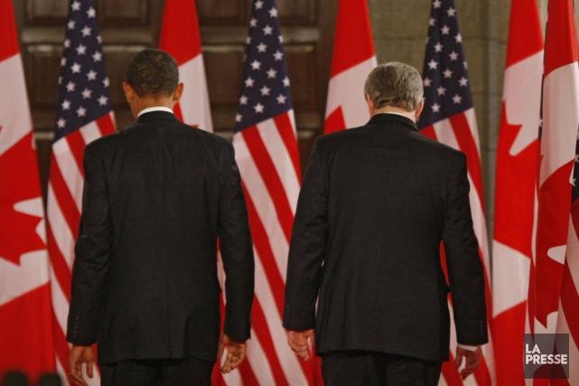 Le premier ministre Stephen Harper et le président... (PHOTO IVANOH DEMERS, LA PRESSE)