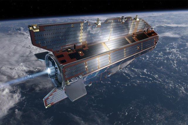 Lancé en mars 2009, GOCE tourne depuis lors... (Image Agence spatiale européenne)