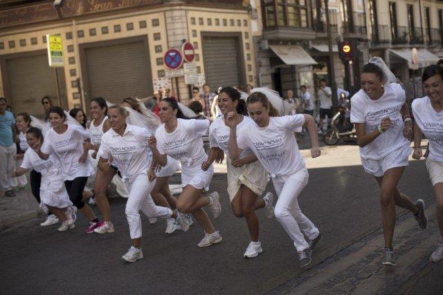 La course a été organisée dans une rue... (PHOTO JORGE GUERRERO, AGENCE FRANCE PRESSE)