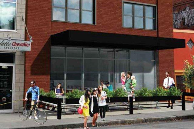 Le nouvel édifice (esquisse) s'intègrera dans la trame... (Photo fournie par Bagle Maguire Café)