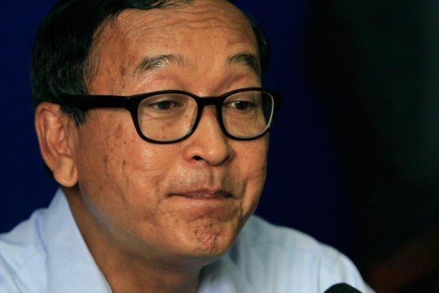 L'opposant cambodgien Sam Rainsy.... (PHOTO HENG SINITH, AP)