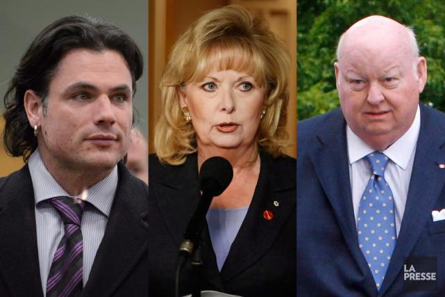 Lesanciens sénateurs conservateurs Patrick Brazeau, Pamela Wallin etMike... (PHOTOMONTAGE LA PRESSE)