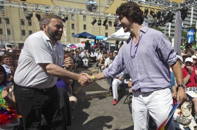 Thomas Mulcair et Justin Trudeau lors d'un événement... (Photo archives Reuters)