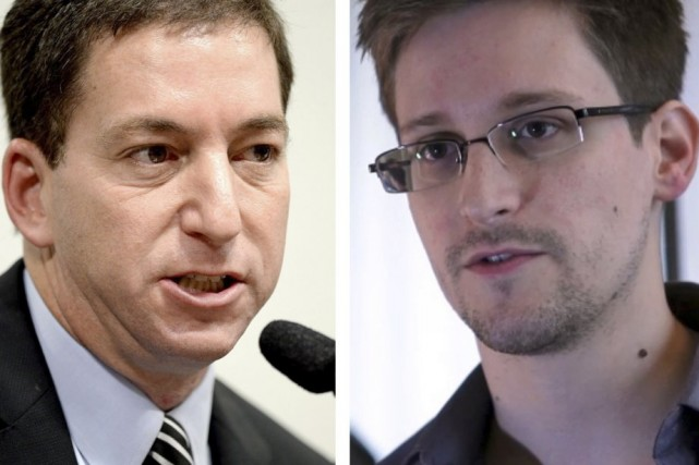 Glenn Greenwald et Edward Snowden.... (Photo: archives AFP)