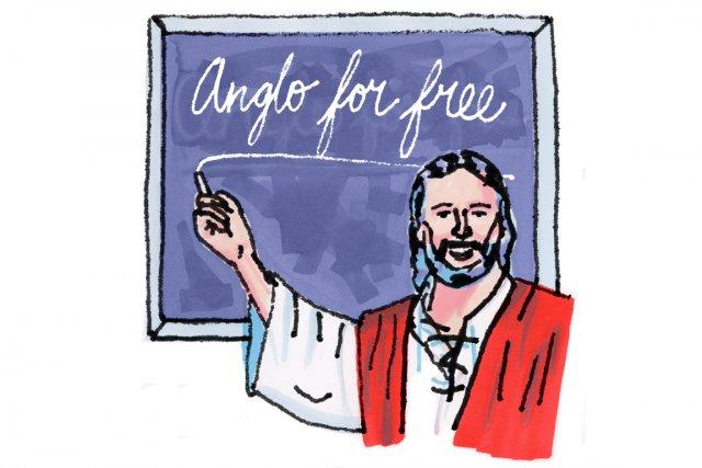 Des leçons d'anglais gratuites, données par des missionnaires, dans un temple... (Illustration Vincent Tourigny / Urbania)