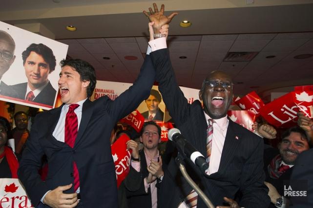 Emmanuel Dubourg a célébré la victoire lundi soir... (La Presse Canadienne)