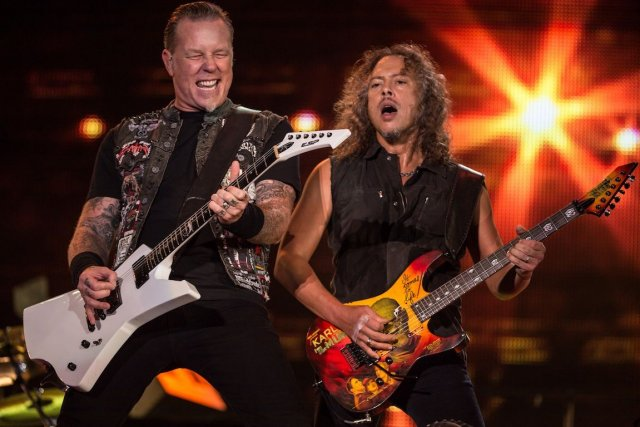James Hetfield et Kirk Hammett, du groupe américain... (Photo: archives AFP)