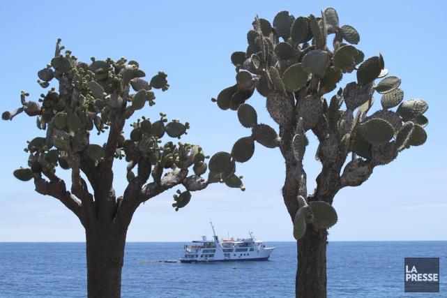 Un bateauau large de l'île Santa Fe.... (Photo Simon Chabot, La Presse)