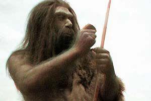 Représentation d'un homme de Néandertal...