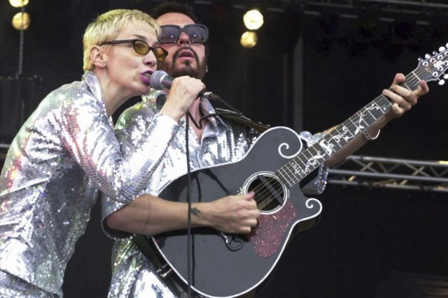 Annie Lennox et Dave Stewart du groupe Eurythmics... (Photo: archives AP)