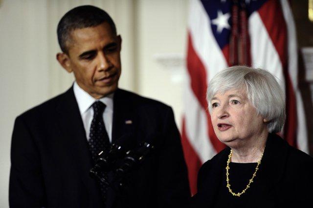 Janet Yellen aux côtés du président Obama lors... (PHOTO JEWEL SAMAD, AFP)