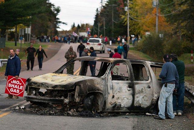 Une manifestation contre le gaz de schiste à... (PHOTO ANDREW VAUGHAN, LA PRESSE CANADIENNE)