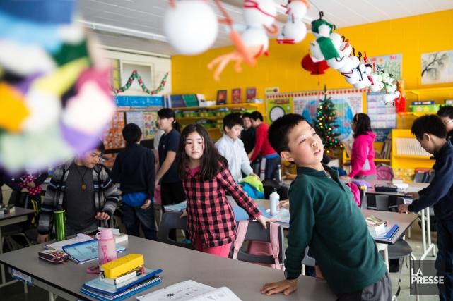 Pour apprendre le français, les enfants ont fabriqué... (Photo Edouard Plante-Fréchette, La Presse)