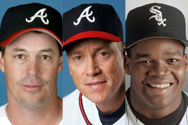 Greg Maddux, Tom Glavine et Frank Thomas... (Photos archives AP)