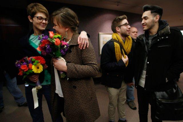 Natalie Dicou (à gauche) et Nicole Christensen ainsi... (Photo Jim Urquhart, archives Reuters)