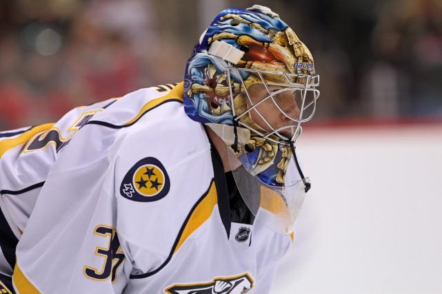 Pekka Rinne est à l'écart du jeu depuis... (Photo Brace Hemmelgarn, USA Today)