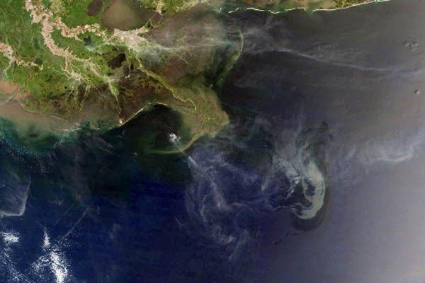Image satellitaire de l'étendue de la marée noire... (Photo d'archives AFP)