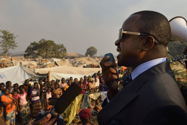 Alexandre-Ferdinand Nguendet, le président par intérim,s'est adressé aux100000... (PHOTO ERIC FEFERBERG, AFP)
