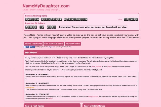 La page d'accueil du site namemydaughter.com....