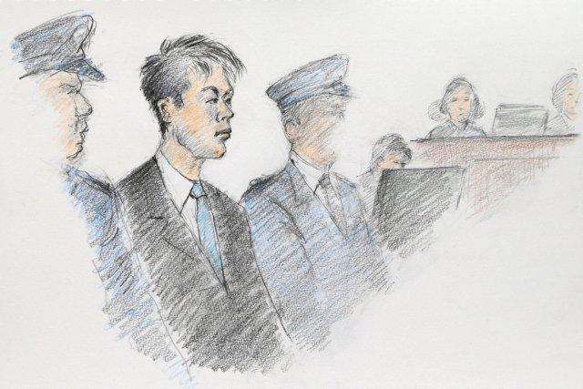 Makoto Hirata (2e à partir de la gauche),... (ILLUSTRATION MASATO YAMASHITA, AFP/JIJI PRESS)