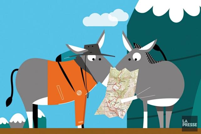 Comment organiser et surtout préparer une randonnée mémorable sur les sommets... (Illustration Julien Chung, La Presse)