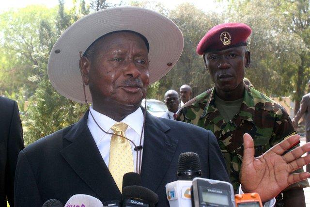 Le président Yoweri Museveni, à Juba au Soudan... (PHOTO WAAKHE SIMON, ARCHIVEA AFP)