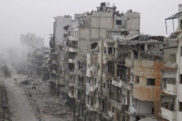 Une partie de la ville de Homs en... (Photo REUTERS)