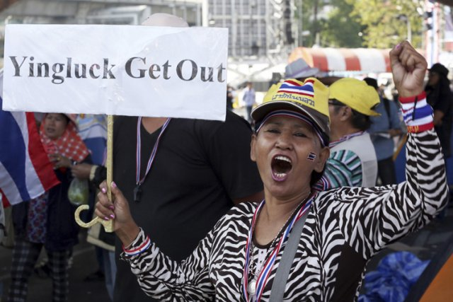 Les manifestants, alliance hétéroclite des élites de Bangkok,... (Photo: AP)