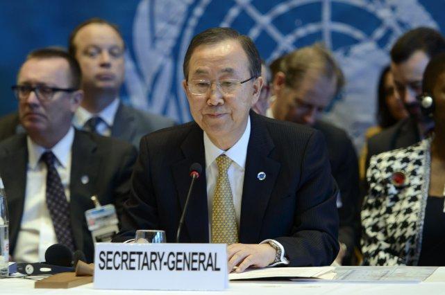 Ban Ki-moon, secrétaire général de l'ONU.... (Photo Keystone, Martial Trezzini, AP)
