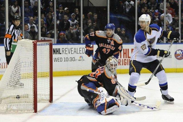 Les Blues ont une fiche de 16-3-1 contre... (Photo Kathy Kmonicek, AP)
