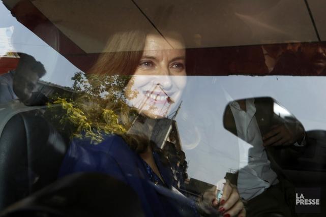 Valérie Trierweiler, à Bombay, le 27 janvier.... (PHOTO RAJANISH KAKADE, AP)