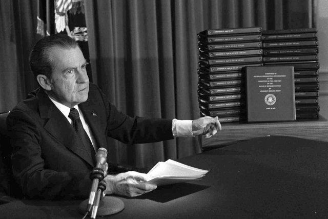 Le président Richard Nixon, à Washington, en avril... (PHOTO ARCHIVES AP)