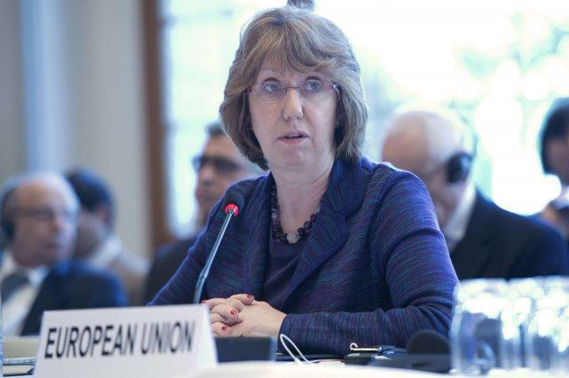 La responsable de la diplomatie de l'Union européenne,Catherine... (Photo JEAN-MARC FERRE, AFP)