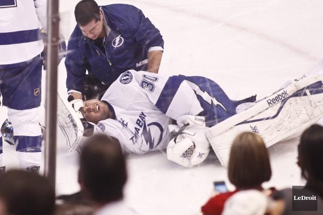 Ben Bishop a été blessé à la tête,... (Photo Patrick Woodbury, Le Droit)