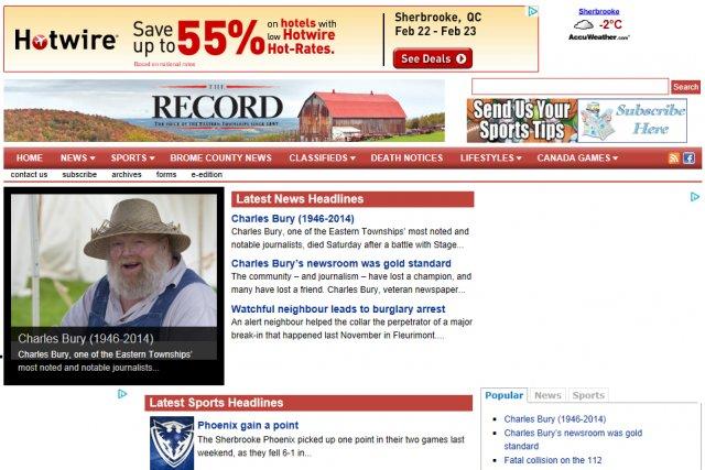 L'ex-rédacteur en chef du journal Sherbrooke Record et ancien...