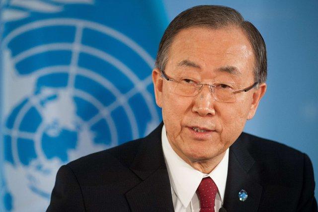 Le secrétaire général de l'ONU, Ban Ki-moon.... (Photo Maurizio Gambarini, AFP)