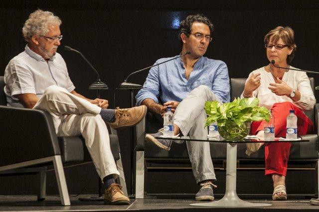Les écrivains colombiens Hector Abad Faciolince, Juan Gabriel... (Photo: AFP)