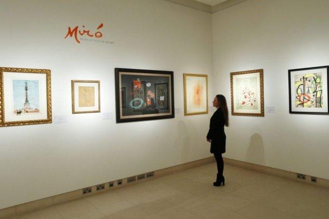 Quelques-unes des oeuvres de Miro qui devaient être... (Photo: archives Reuters)